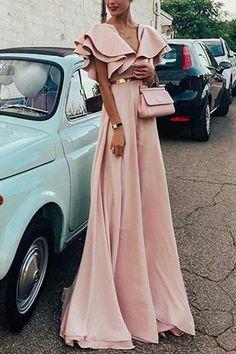 Sexy Pink Short Sleeves V Neck Maxi Dress – ebuytide Source by ebuytidecom dresses A Line Prom Dresses, Modest Dresses, Elegant Dresses, Pretty Dresses, Beautiful Dresses, Evening Dresses, Summer Dresses, Formal Dresses, Casual Dresses