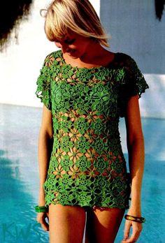 Vintage años 70 Crochet Bikini encubrimiento Top por KinzieWoolShop