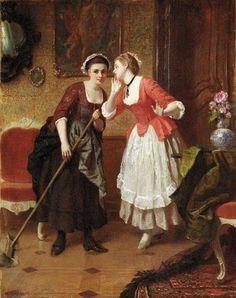 The Secret by Wilhelm Amberg (German, 1822 - 1899)