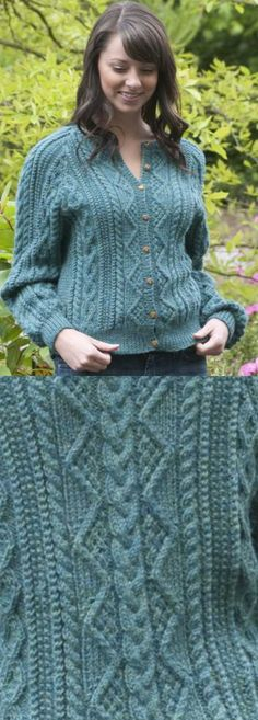 Free Knitting Pattern for Cabled Cardigan Patricia