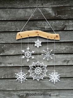 Reserved For Eva / Holiday Decoration - Crochet Snowflake And Wood Ornament For…