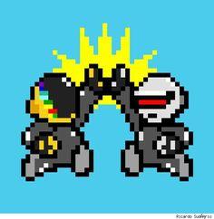 High five - Daft Bros Daft Punk, Dbz, Cool Robots, Retro Gamer, Punk Art, High Five, Art Pictures, Music Artists, Pixel Art