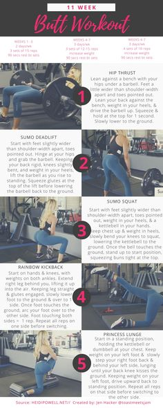 11 Week Butt Workout - I created this guide from Heidi's 11 week butt workout (http://heidipowell.net/10419/my-booty-builder-workout/) b/c I wanted a version I could more easily reference at the gym. I thought this community might also find it helpful! #finess #glutes #buttworkout #bootyworkout