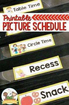 Picture Schedule Cards for Preschool and Kindergarten