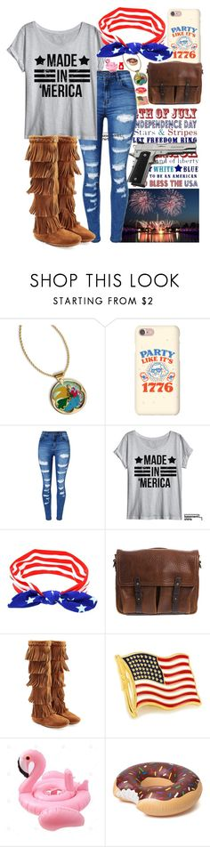 """//the land of the free & the home of the brave//"" by wibbly-wobbly-timey-wimey-dork on Polyvore featuring American Coin Treasures, WithChic, Overland Sheepskin Co., Minnetonka, Cufflinks, Inc., independenceday, july4th, Independence and TheFourthOfJuly"