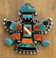 Zuni Knifewing attr David Tsikewa Pin Mosaic Inlay Turquoise & Shells 1940s-50