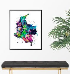 Colombia Watercolor Map 2 Art Print Poster Wall Art by ZuzisStudio