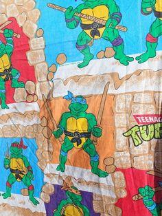 Vintage Teenage Mutant Ninja Turtles Twin Flat Bed Sheet Bedding Fabric TMNT #TeenageMutantNinjaTurtles