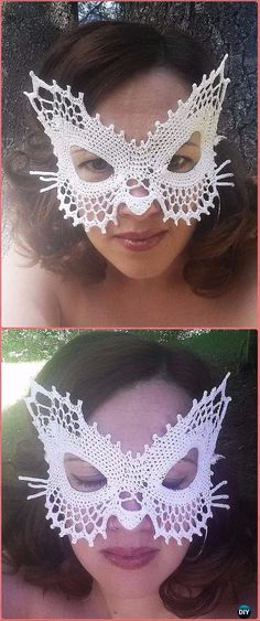 Crochet Lace Masquerade Cat Mask Paid Pattern - Masquerade Beauty Crochet Eye Mask Patterns