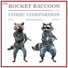 "705 Likes, 11 Comments - • Accurate.MCU • mcu fanpage (@accurate.mcu) on Instagram: ""• ROCKET RACCOON - COMIC COMPARISON • Rocket's MCU design is simply amazing. I really liked his…"""