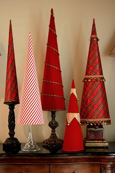 fabric covered tree cones