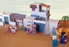 My Little House: Bible Paper Toys – Bethlehem Town - the inn Sunday School Activities, Sunday School Crafts, Lessons For Kids, Bible Lessons, Vbs Themes, Holiday Program, Bible Crafts For Kids, Kids Church, Paper Toys