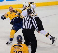 Nashville Predators forward Eric Nystrom, left, and Boston Bruins defenseman Adam McQuaid