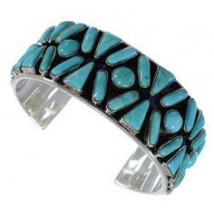 Southwest Sterling Silver Turquoise Heavy Cuff Bracelet CX49594-0