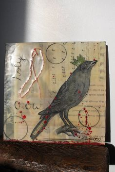HoLy CrOw original encaustic and mixed media by lyndsayhenderson, $40.00