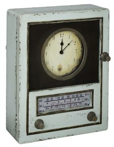 Tradd Clock Light Sage Finish with Gray and Black Highlights; Under Glass; Opens to reveal key storage