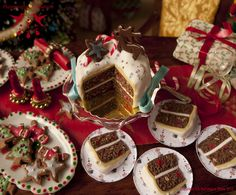 Cut Rudolph Christmas Cake - Dollhouse miniature in 1:12 scale by Hummingbird Miniatures