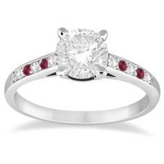 Allurez Cathedral Ruby & Diamond Engagement Ring 14k White Gold... ($650) ❤ liked on Polyvore
