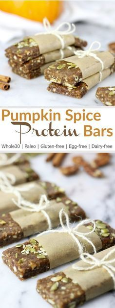Pumpkin Spice Protein Bars | These no-bake fruit and nut bars feature the best flavors of fall and get an added protein punch from collagen. They're great for post-workouts, lunch boxes and busy people on-the-go who need a balanced snack | Whole30 | Paleo