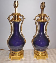 A pair of ormolu mounted bleu royal porcelain lamps   c. 1880 France