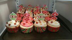 Gummy coke cupcakes with vanilla buttercream frosting and cherry vanilla buttercream frosting