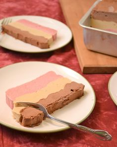 Neopolitan Ice Cream Cake. Yum. If this doesn't remind you of being a kid and trying to pick around to get your favorite flavor, nothing will.