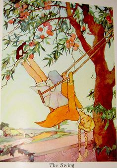 """The Swing"" - From ""A Child's Garden of Verses"" by Robert Louis Stevenson, illustrated by Eloise Burns (1930)"