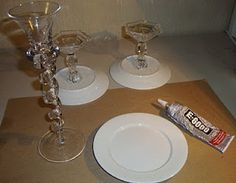 """DIY Cake Stand: Here is a better example of the """"before."""" We can spray paint them any color or pattern!"""