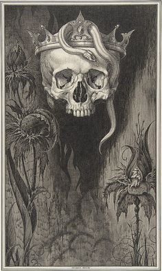 Henry Weston Keen (British, 1871–1935). Skull Crowned with Snakes and Flowers, for the Duchess of Malfi and the White Devil by John Webster, 1918–35. The Metropolitan Museum of Art, New York. The Elisha Whittelsey Collection, The Elisha Whittelsey Fund, 1967 (67.803.12)