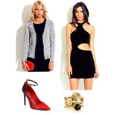 """""""Pop of Red"""" by love1015store on Polyvore. Black mini dress and blazer at http://1015store.com"""