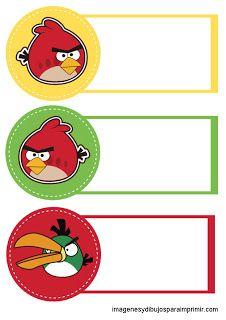 Etiquetas para cadernos angry birds