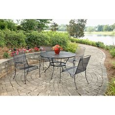Shop Garden Treasures Davenport Black Round Patio Dining Table At Lowes.com