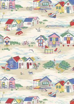 Beach Huts   Bright British beach huts are at the heart of our playful seaside scene   Cath Kidston S16  