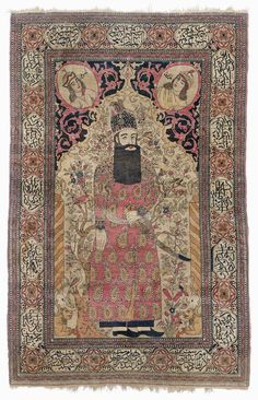 FERAGHAN PICTORIAL CARPET antique.Light central field with depictions of human figures, animals and plants, light edging with inscription cartouches, slight wear, 140x215.