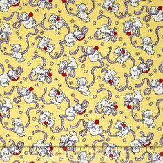 Backyard Pals - Cats at Play with Ribbons Yellow Yardage