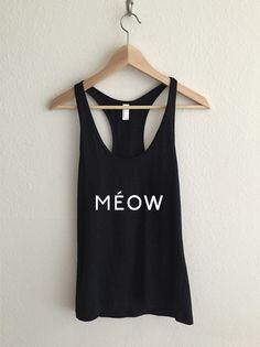 Meow Feline Typography Fine Jersey Athletic Racerback Tank Top