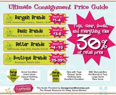 Consignment Pricing Guide: How to Price Your Items for a Kids Consignment Sale Resale Clothing, Kids Clothing, Brande, Garage Sale Tips, Resale Store, Consignment Shops, Price Guide, Shopping Hacks, Online Shopping