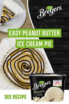 Peanut Butter Ice Cream Pie Recipe, Cream Pie Recipes, Peanut Butter Recipes, Frozen Desserts, Just Desserts, Delicious Desserts, Dessert Recipes, Yummy Food, Ice Cream Pies