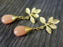 Apricot Ohrhänger / Ohrringe gold / Blätter