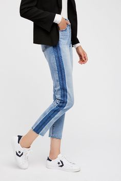 Zee Gee Why Acid Lines Indigo Step Mum Jean at Free People Clothing Boutique