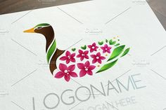 Blooming Duck Logo by KsanaGraphica on @creativemarket