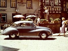 1950s nostalic Auto Union photo, much in the same style and mood of the Opel calendar photos.    Location: Michelstadt (Odenwald), Germany.