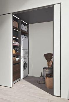 37 Ideas laundry closet door storage for 2019 Laundry Cupboard, Laundry Nook, Laundry Closet, Small Laundry, Laundry Room Design, Sliding Wardrobe Doors, Closet Doors, Diy Bathroom Decor, Small Bathroom