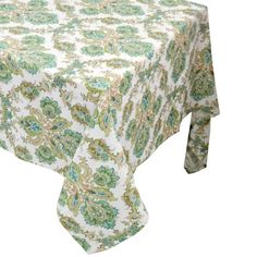 Elegant Raymond Waites Premium Quality Table Cloth   Table Linen (Beige/Green  Flowers Pattern)