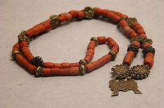 Necklace or Rosary (?), gold and coral. Philippines, 17th-19th century