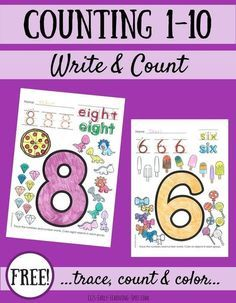 Practice counting and writing to ten with these free activity sheets! Teaching Numbers, Numbers Preschool, Writing Numbers, Math Numbers, Preschool Printables, Preschool Math, Preschool Worksheets, Math Classroom, Fun Math