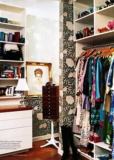 Another pretty wallpapered closet belongs to Charlotte boutique owner Laura Vinroot Poole