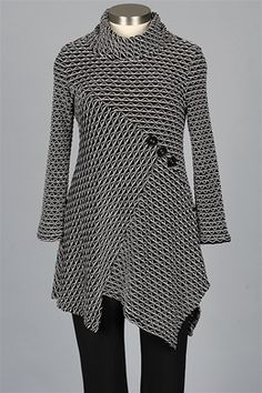 I.C. Collection - Button Tunic - Black & White
