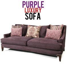 This sofa oozes with traditional styling and modern flair showcased in its countoured design, nailhead detailing, loose pillow back styling, tapered wooden legs in dark cherry finish, purple polyester fabric upholstery, slim track arms and 2 purple matching accent pillows, 2 striped accent pillows, 2 rectangular accent pillows, and 1 paisley accent pillow to add to its gorgeous style. Cherry Finish, Luxury Sofa, Hollywood Regency, Sofa Furniture, Contemporary Furniture, Accent Pillows, Classic Style, Paisley, Upholstery