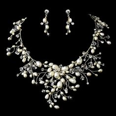 Dramatic freshwater pearl crystal wedding necklace set - SALE